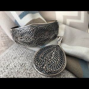 Jewelry - Sterling silver cuff with matching pendant